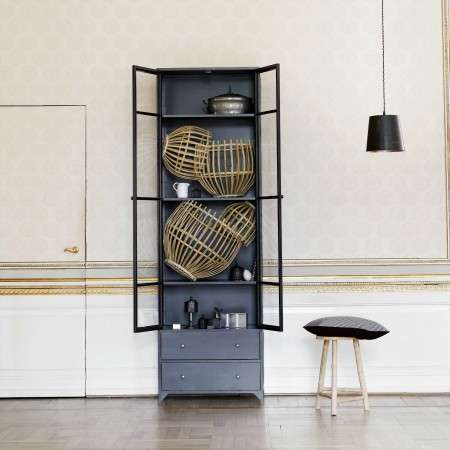 Black Metal Display Cabinet