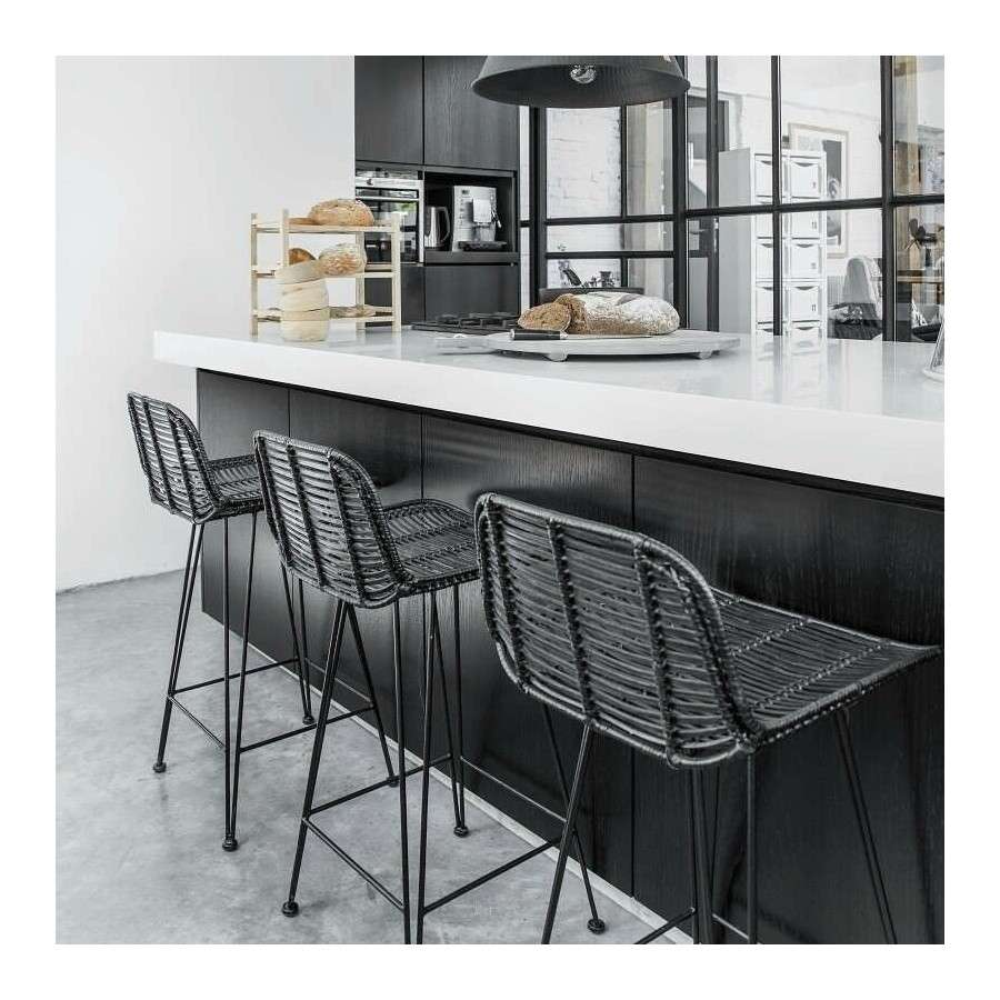 Rattan Kitchen Stools: Rattan Bar Stool Black At Accessories For The Home