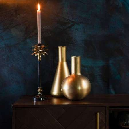Dutchbone Cresta Gold & Black Candle Holder