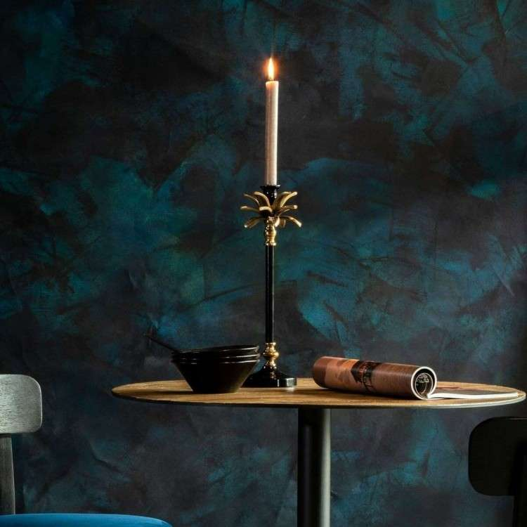 Dutchbone Cresta Gold & Black Floor Candle Holder from Accessories for the Home