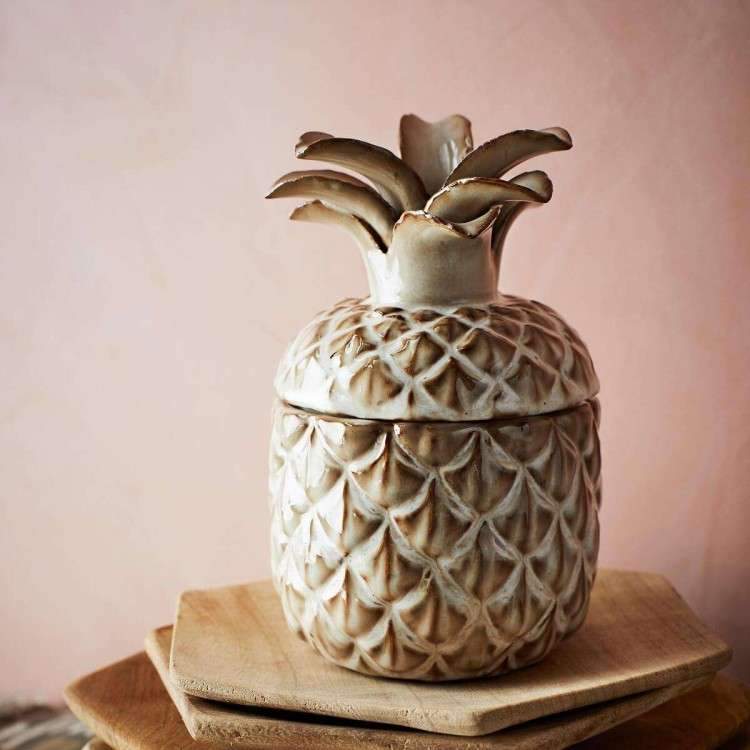 Madam Stoltz Ceramic Pineapple Pot with Lid from Accessories for the Home