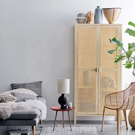 Bloomingville Mariana Pine And Rattan Wardrobe