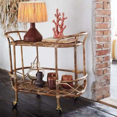 Madam Stoltz Bamboo Drinks Trolley