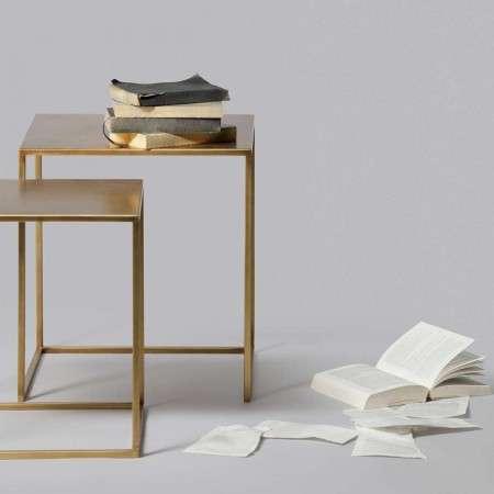 Ziva Set of 2 Metal Side Tables Brass or Black