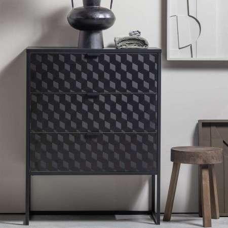 Milo Wood and Metal Three Drawer Cabinet