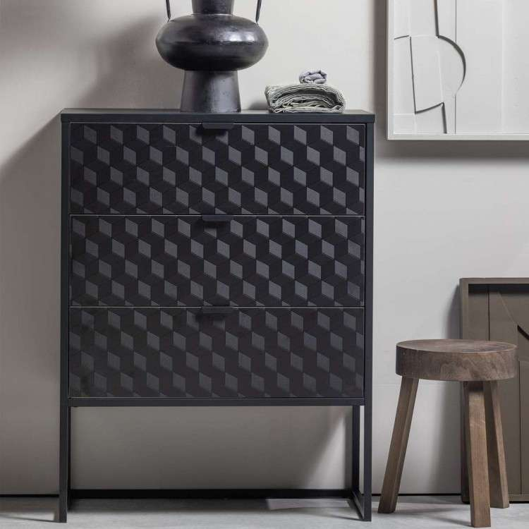 Milo Wood and Metal Three Drawer Cabinet from Accessories for the Home