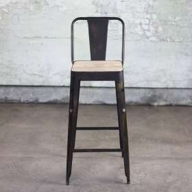 Chari Iron & Mango Wood Bar Stool from Accessories for the Home