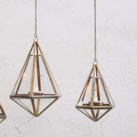 Mokomo Hanging T-Light Lanterns in Brass