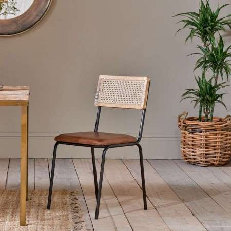 Iswa Leather and Rattan Dining Chair