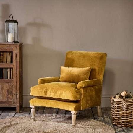 Nalla Velvet Armchair in Ochre