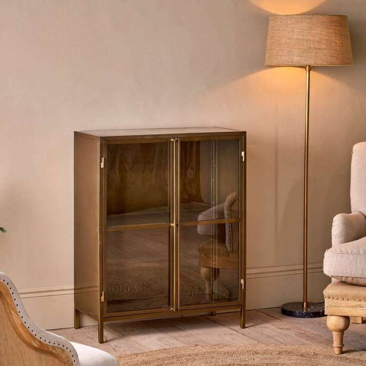 Ranchi Iron Cabinet in Antique Brass from Accessories for the Home