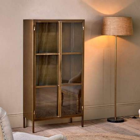 Ranchi Tall Iron Cabinet in Antique Brass from Accessories for the Home