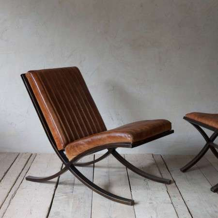 Narwana Ribbed Leather Lounger from Accessories for the Home