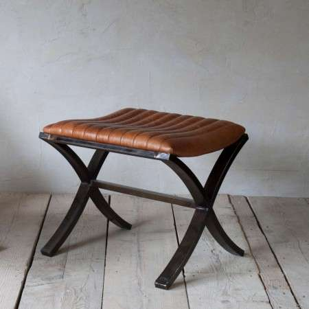 Narwana Ribbed Leather Footstool from Accessories for the Home