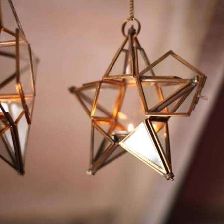Antique Brass & Glass Hanging Stars