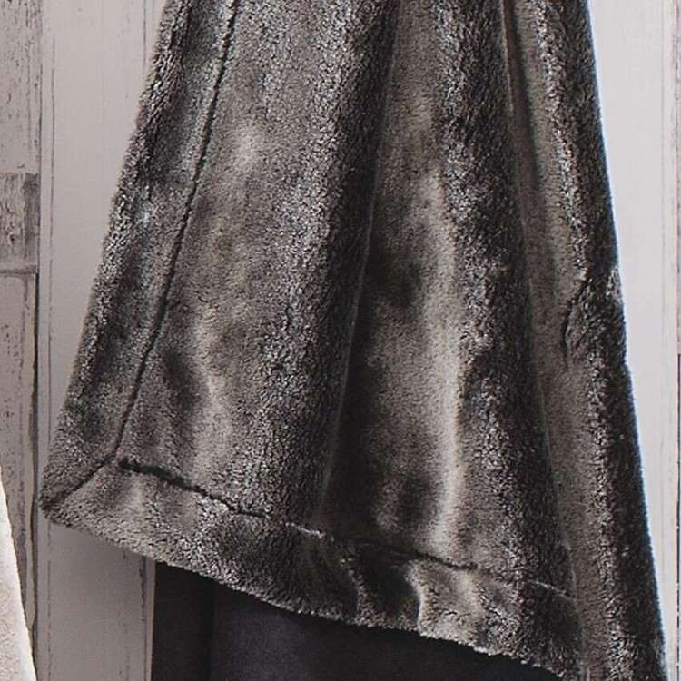 Luxury Faux Fur Charcoal Throw