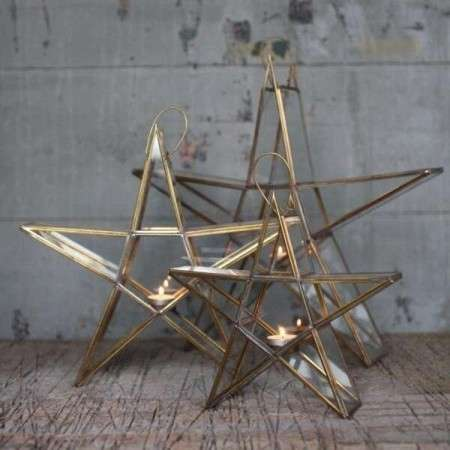 Sanwi Brass T-Light Holder Free Standing Star