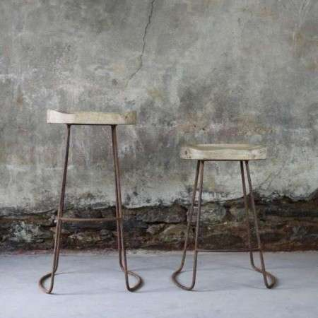 Loko Natural Mango Wood and Iron Bar Stools
