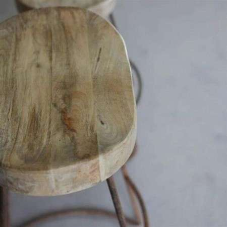 Loko Natural Mango Wood and Iron Bar Stools from Accessories for the Home