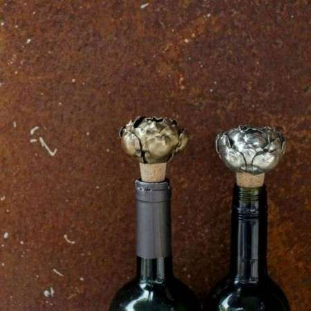 Vintage Silver Rose Wine Bottle Stops