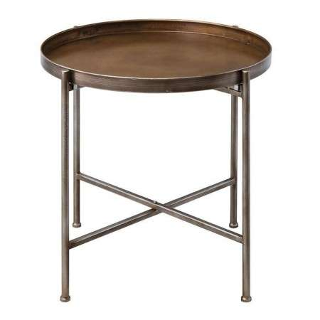 Lennox Brass Finish Folding Side Table