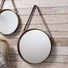 Modena Mirror with leather hanging strap - set of 2