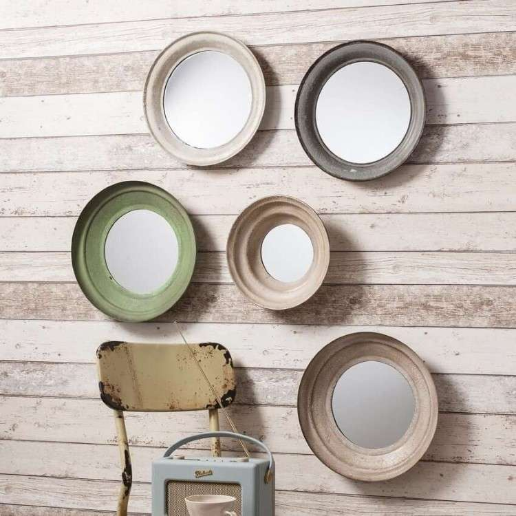 Camden Set of 5 Round Metal Frame Mirrors from Accessories for the Home
