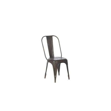 Chari Distressed Black Iron Dining Chair