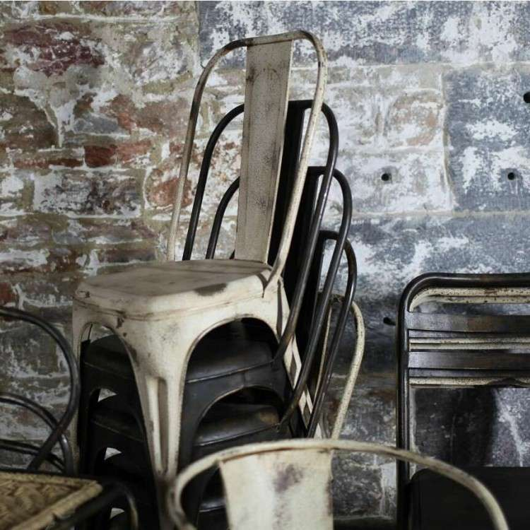 Chari Distressed Black Iron Chairs from Accessories for the Home