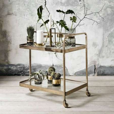 Nordal Brass 3 Wheeled Drinks Trolley