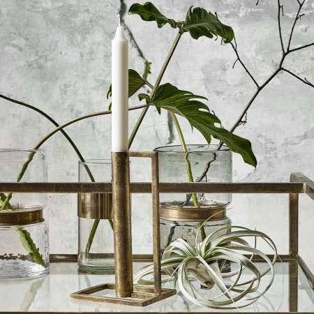 Cubic Antique Brass Candle Holder from Accessories for the Home