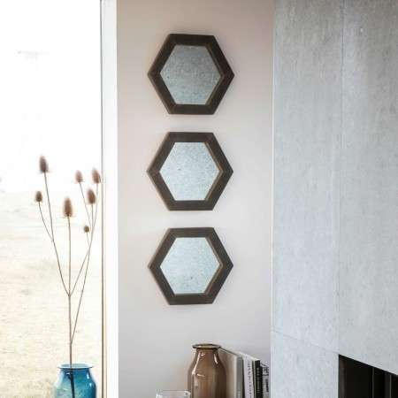 Garfield Set of 3 Hexagonal Wall Mirrors