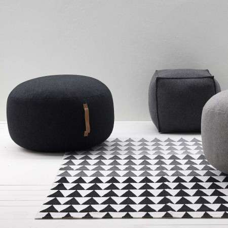 Hubsch Large Charcoal & Light Grey Wool Pouffe