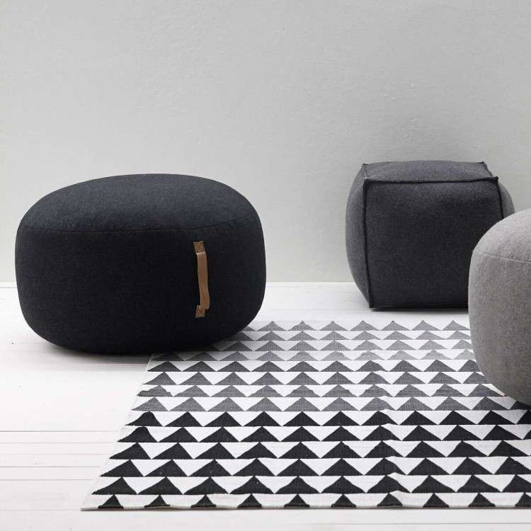 Hubsch Charcoal Grey Wool Pouffe from Accessories for the Home