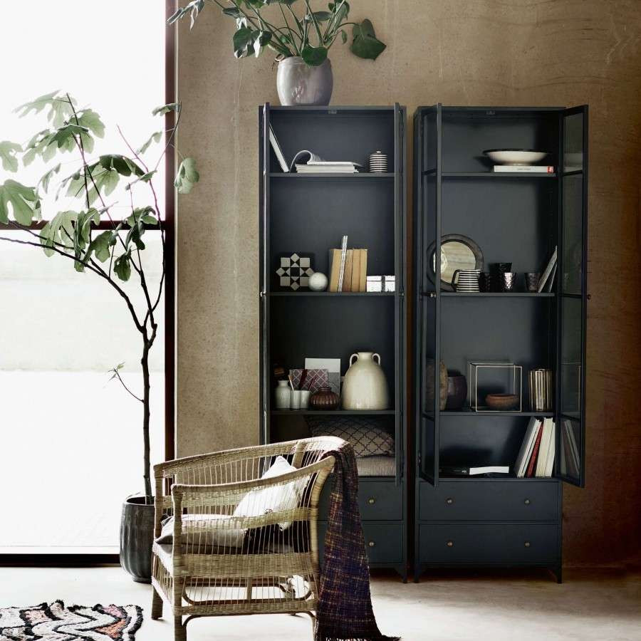 Tall Black Metal Display Cabinet From Accessories For The Home