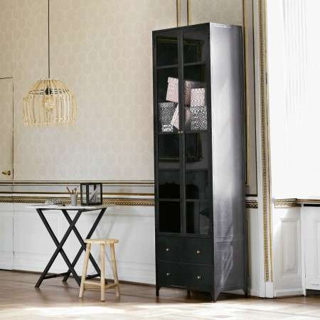 Tinekhome Tall Metal Black Iron Display Cabinet from Accessories for the Home