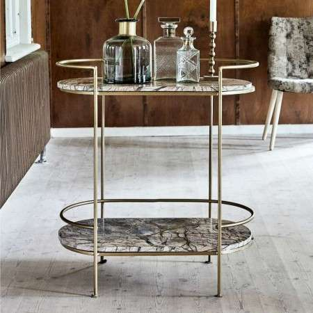 Nordal Jungle Antique Gold Marble Oval Side Table