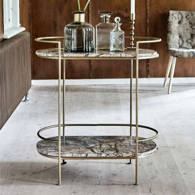 Nordal Antique Gold or Black Marble Oval Side Table from Accessories for the Home