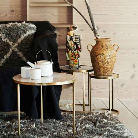 Madam Stoltz Marble and Brass Nesting Tables (3)