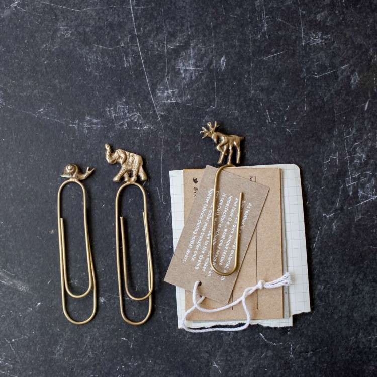 Brass Animal Paper Clips from Accessories for the Home