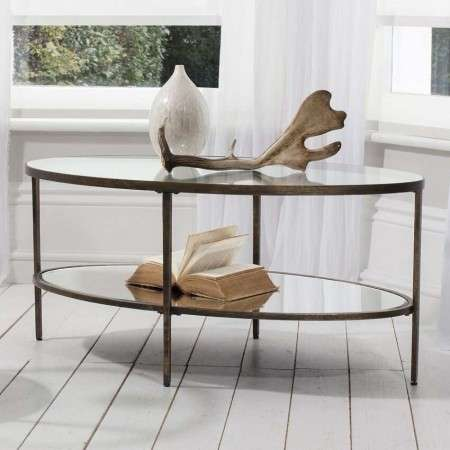 Hudson Aged Bronze Oval Coffee Table