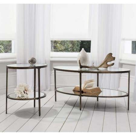 Hudson Aged Bronze and Glass Side Table from Accessories for the Home