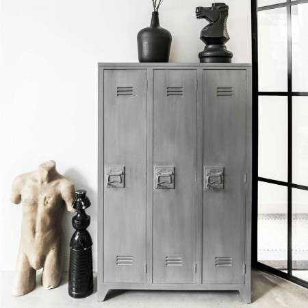 Wood 3 Door Grey Locker from Accessories for the Home