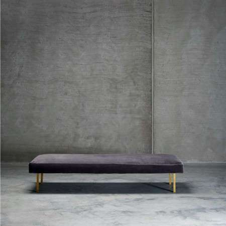 Tinekhome Smoke Velvet Daybed with Brass Legs