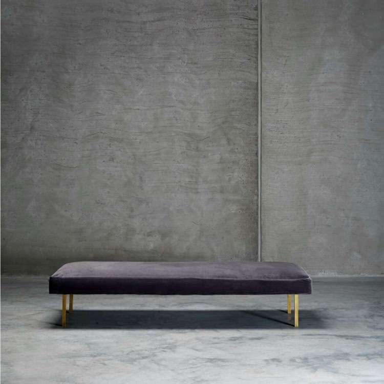 Tinekhome Smoke Velvet Daybed with Brass Legs from Accessories for the Home