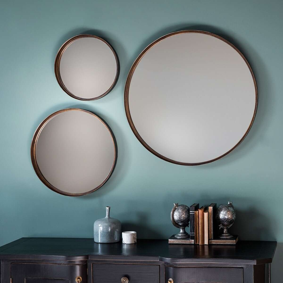 Reading Set Of 3 Round Wall Mirrors Accessories For The Home