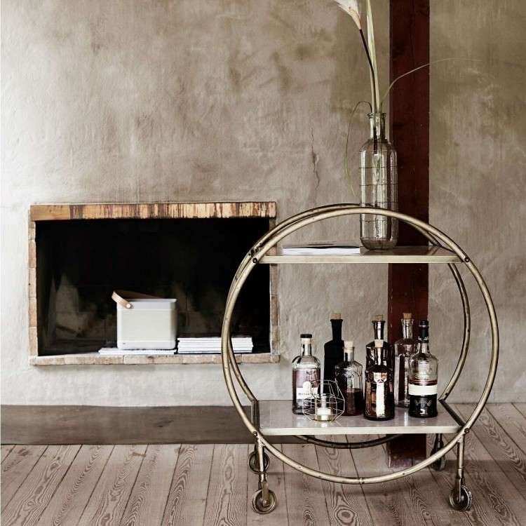 Antique Brass Circular Drinks Trolley from Accessories for the Home