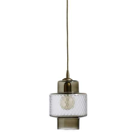 Nordal Smoke Cut Glass and Brass Pendant from Accessories for the Home