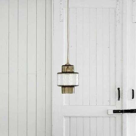 Nordal Smoke with Cut Glass & Brass Pendant
