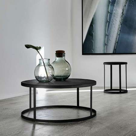 Muubs Black Stone and Iron Coffee Table